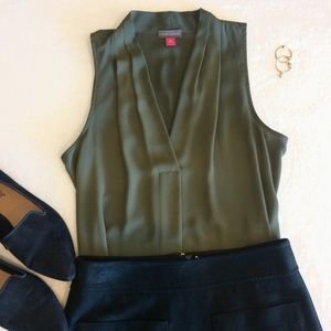 Vince Camuto Olive Green Sleeveless Blouse